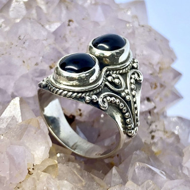 RR 14657 OX-(HANDMADE 925 BALI STERLING SILVER RINGS WITH ONYX)