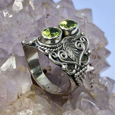 RR 14657 B-PD-(HANDMADE 925 BALI STERLING SILVER RINGS WITH PERIDOT)