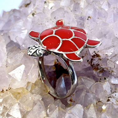 RR 05326 CR-(HANDMADE 925 BALI SILVER TURTLE RING WITH RED CORAL)