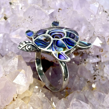 RR 05326 AB-(HANDMADE 925 BALI SILVER TURTLE RING WITH ABALONE)
