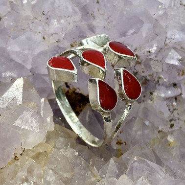 RR 14703 CR-(HANDMADE 925 BALI STERLING SILVER RING WITH CORAL)