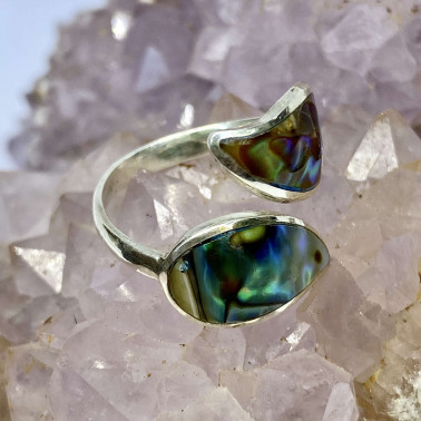 RR 14690 AB-(HANDMADE 925 BALI STERLING SILVER RING WITH ABALONE)