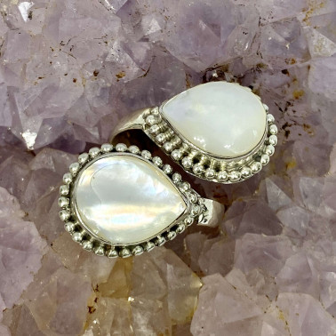 RR 14660 MP-(HANDMADE 925 BALI STERLING SILVER RING WITH MOTHER OF PEARL)