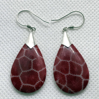 ER 14545 RD-FC-(HANDMADE BALI 925 SILVER EARRINGS WITH RED COLORED CORAL)