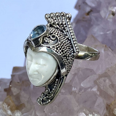 RR 12151 BN-BT-(HANDMADE 925 BALI SILVER BONE FACE RING WITH BLUE TOPAZ)