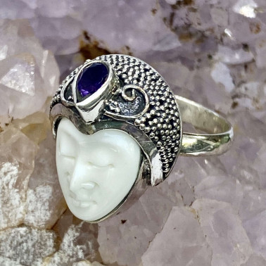 RR 14684 BN-AM-(HANDMADE 925 BALI SILVER BONE FACE RING WITH AMETHYST)