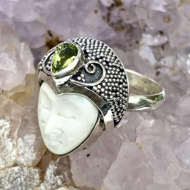 RR 14684 BN-PD-(HANDMADE 925 BALI SILVER BONE FACE RING WITH PERIDOT)