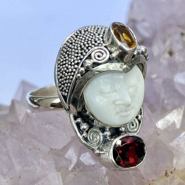 RR 08310 BN-MX-(HANDMADE 925 BALI SILVER BONE FACE RING WITH MIX GEMSTONES)
