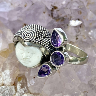 RR 08622 BN-AM-(HANDMADE 925 BALI SILVER BONE FACE RING WITH AMETHYST)