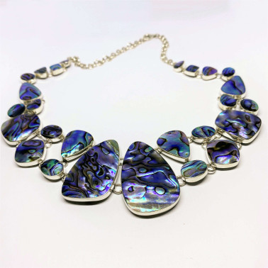 NK 05556 AB-(HANDMADE BALI 925 STERLING SILVER NECKLACES WITH ABALONE)