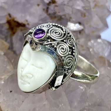 RR 11679 B-BN-AM-(HANDMADE 925 BALI SILVER BONE FACE RING WITH AMETHYST)