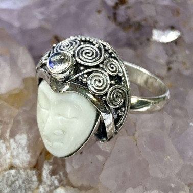 RR 11679 B-BN-MS-(HANDMADE 925 BALI SILVER BONE FACE RING WITH MOONSTONE)