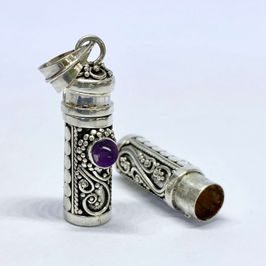 PD 08119 S-AM-(HANDMADE 925 BALI SILVER PERFUME PRAYER PILL BOX PENDANT WITH AMETHYST)