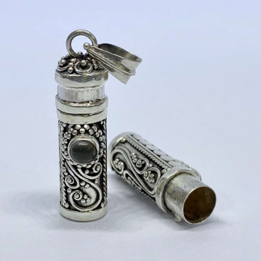 PD 08119 S-MS-(HANDMADE 925 BALI SILVER PERFUME PRAYER PILL BOX PENDANT WITH MOONSTONE)