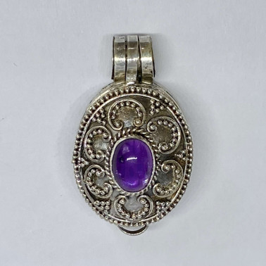 PD 13603 B-AM-(HANDMADE 925 BALI SILVER PERFUME PRAYER PILL BOX PENDANT WITH AMETHYST)