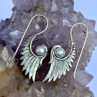ER 13953 A-PL-(HANDMADE 925 BALI SILVER ANGEL WINGS EARRINGS WITH PEARL)