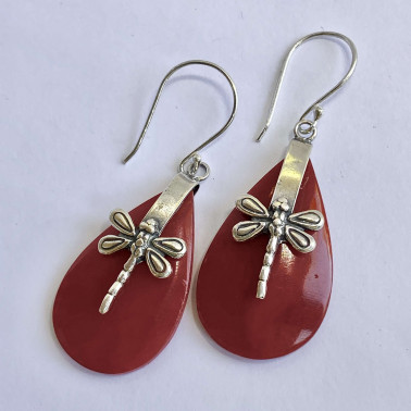 ER 13624 CR-(HANDMADE 925 BALI SILVER DRAGONFLY EARRINGS WITH CORAL)