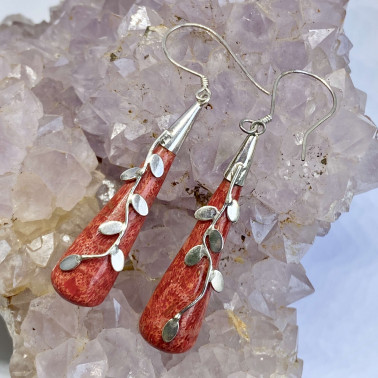ER 13689 CR-(HANDMADE 925 BALI SILVER LEAVES EARRINGS WITH CORAL)
