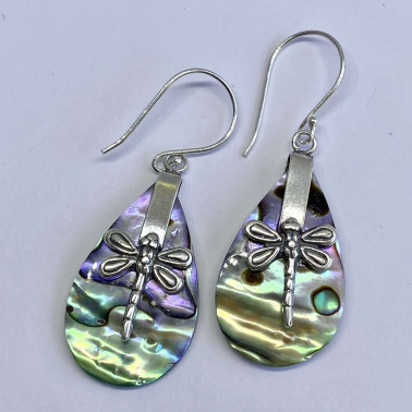 ER 13624 AB-(HANDMADE 925 BALI SILVER DRAGONFLY EARRINGS WITH ABALONE)