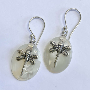 ER 13624 A-MP-(BALI 925 STERLING SILVER DRAGONFLY EARRINGS WITH MOTHER OF PEARL)