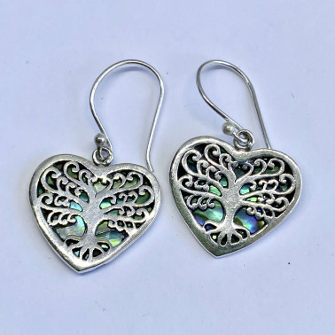 ER 14739 AB-(BALI 925 STERLING SILVER TREE OF LIFE HEART EARRINGS WITH ABALONE)