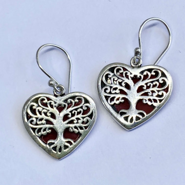 ER 14739 CR-(BALI 925 STERLING SILVER TREE OF LIFE HEART EARRINGS WITH CORAL)
