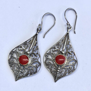 ER 12490 C-CR-(BALI 925 STERLING SILVER FILIGREE EARRINGS WITH CORAL)