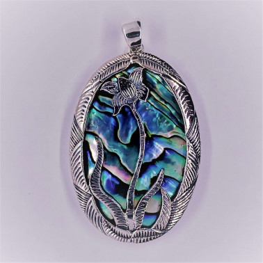 PD 11095 AB-(HANDMADE 925 BALI SILVER LOTUS FLOWER PENDANT WITH ABALONE)