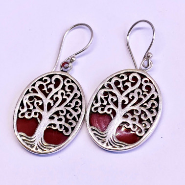 ER 14738 CR-(BALI 925 STERLING SILVER TREE OF LIFE EARRINGS WITH CORAL)