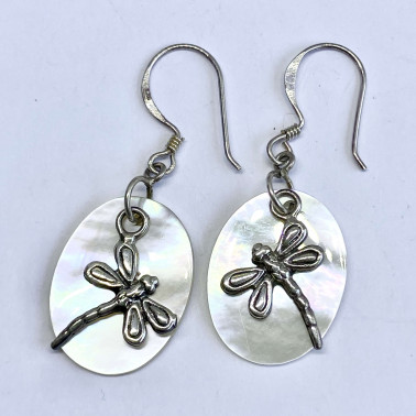 ER 11126 MP-(BALI 925 STERLING SILVER DRAGONFLY EARRINGS WITH MOTHER OF PEARL)