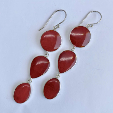 ER 14543 B-CR-(BALI 925 STERLING SILVER DANGLE EARRINGS WITH CORAL)
