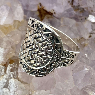 RR 14752-(HANDMADE 925 BALI STERLING SILVER WOMAN WOVEN RING)