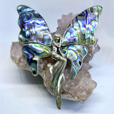 PD 10723 XL-AB-(UNIQUE  925 BALI STERLING SILVER ANGEL BUTTERFLY BROOCH PENDANT WITH ABALONE)