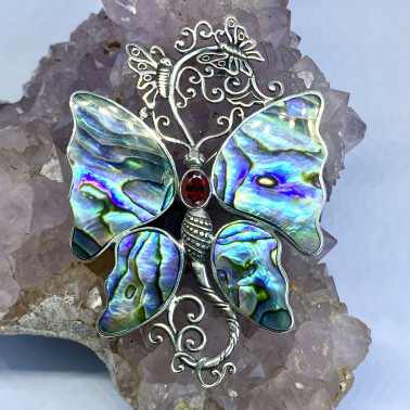 PD 10513 AB-GR-(UNIQUE 925 BALI SILVER BUTTERFLY BROOCH PENDANT WITH ABALONE GARNET)