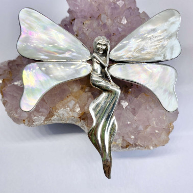 PD 10723 B-MP-(UNIQUE 925 BALI SILVER ANGEL BUTTERFLY BROOCH PENDANT WITH MOTHER OF PEARL)