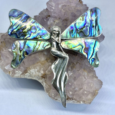 PD 10723 B-AB-(UNIQUE 925 BALI STERLING SILVER ANGEL BUTTERFLY BROOCH PENDANT WITH ABALONE)