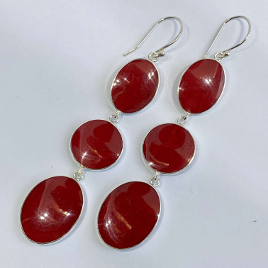 ER 14543 A-CR-(925 BALI STERLING SILVER DANGLE EARRINGS WITH CORAL)