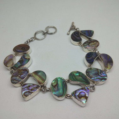 BR 05248-HANDMADE 925 BALI SILVER BRACELET WITH ABALONE SHELL