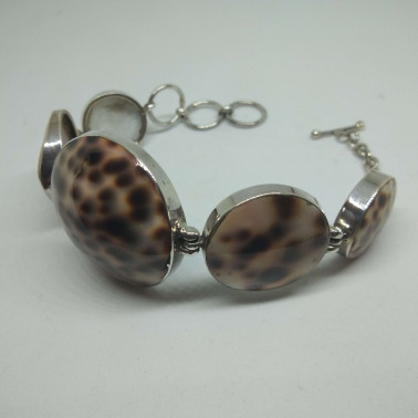 BR 06079-HANDMADE 925 BALI SILVER BRACELET WITH SHELL