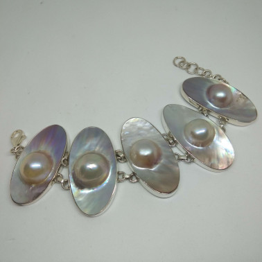 BR 10715-HANDMADE 925 BALI SILVER BRACELET WITH MABE PEARL