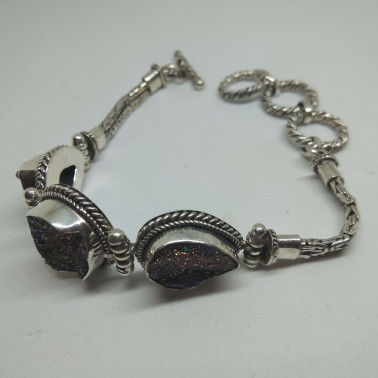 BR 12968-HANDMADE 925 BALI SILVER BRACELET WITH DRUCY.