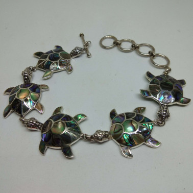 BR 05326 AB-(HANDMADE 925 BALI SILVER TURTLE BRACELET WITH ABALONE SHELL)