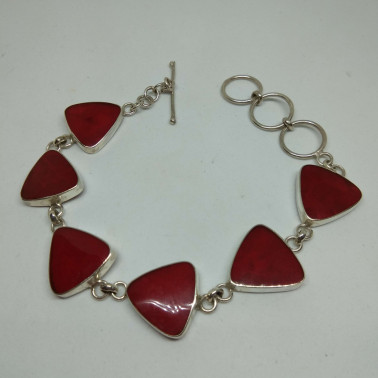 BR 13349-HANDMADE 925 BALI SILVER BRACELET WITH CORAL