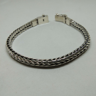 BR 13922-(UNIQUE 925 BALI SILVER CHAIN BRACELET 6 MM - 190 MM)