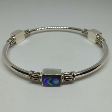 BR 13351 AB-(HANDMADE 925 BALI SILVER BANGLE BRACELET WITH ABALONE SHELL)