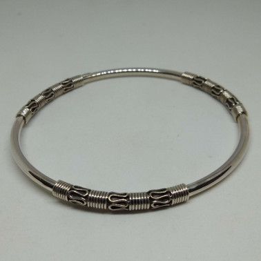 BR 12293-(HANDMADE 925 BALI STERLING SILVER BANGLE BRACELET)