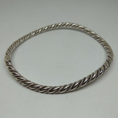BR 09664-(HANDMADE 925 BALI STERLING SILVER WOVEN BANGLE BRACELET)
