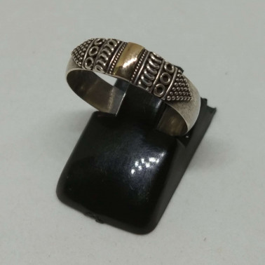 RR 13837-(HANDMADE 925 BALI SILVER RINGS WITH 18KT GOLD ACCENT)