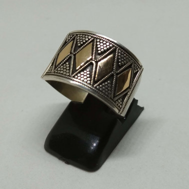 RR 13362-(HANDMADE 925 BALI SILVER RINGS WITH 18KT GOLD ACCENT)