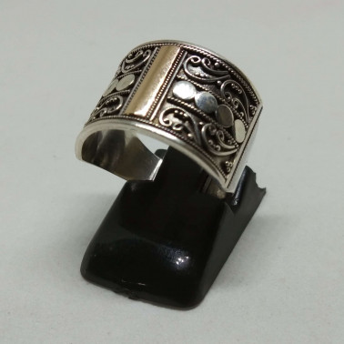 RR 13840-(HANDMADE 925 BALI SILVER RINGS WITH 18KT GOLD ACCENT)